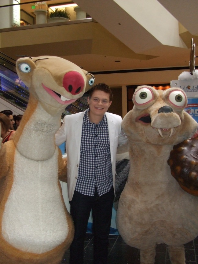 ABC Family's Switched at Birth's star Sean Berdy posed with Sid and Scrat at Beverly Center Dec. 6.  Both characters are Sean's favorite in Ice Age.