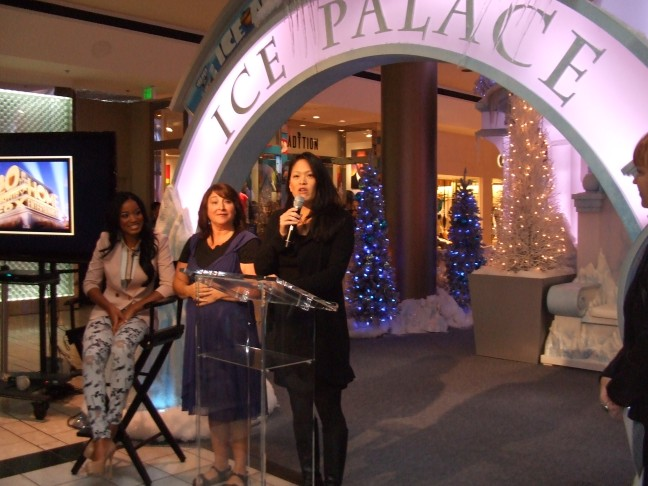 Keke Palmer (voice of Peaches in Ice Age 4), LifeSigns ASL Interpreter during Press Event Hope Simon, and Sr. Vice President Jennifer Chai at Beverly Center Dec. 6.