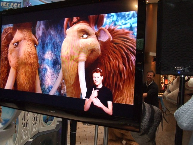 Sean Berdy translates what is being said on screen on Ice Age 4: Continental Drift.