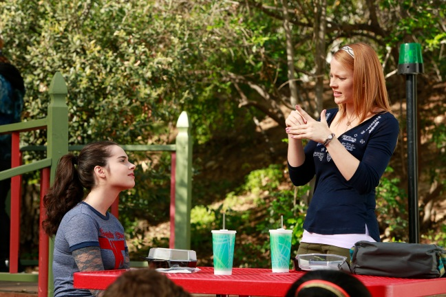 "SWITCHED AT BIRTH - ""Love Among the Ruins"" - Bay struggles with her feelings about Emmett and Tank while Daphne risks her safety to protect Regina in the summer premiere of ""Switched at Birth,"" airing Monday, June 16 at 8:00PM ET/PT on ABC Family. (ABC FAMILY/Ron Tom) © (ABC FAMILY/Ron Tom) VANESSA MARANO, KATIE LECLERC"