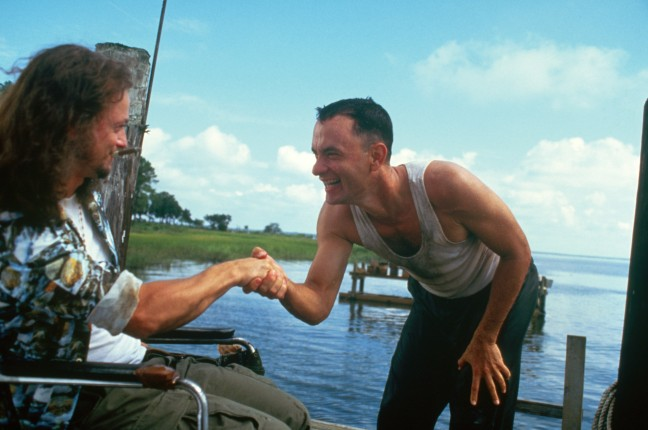 FORREST GUMP: From left: Gary Sinise as Lt. Dan and Tom Hanks as Forrest Gump. Courtesy of Paramount Pictures.