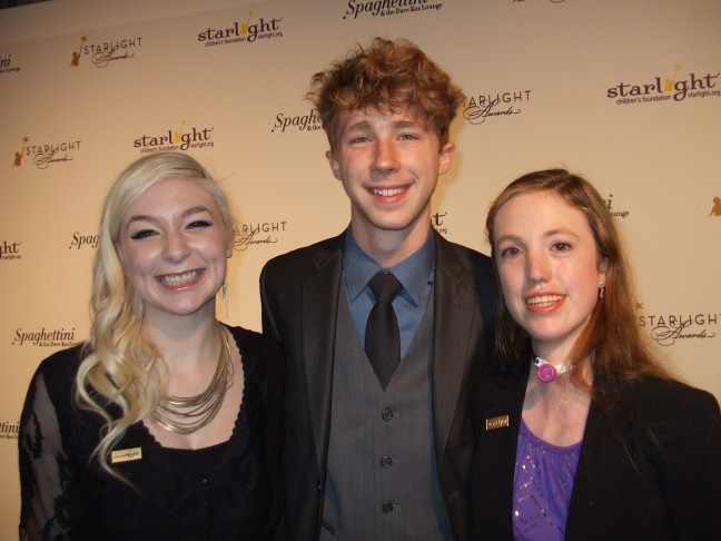 From left, Starbright World Teen Kara, actor Joey Luthman, and Starbright World Teen Brianna at the 2014 Starlight Awards in Los Angeles.  Photo by Megan Clancy