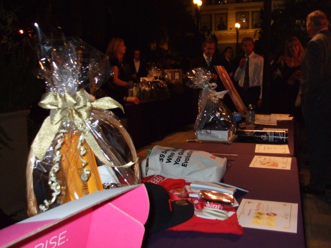 General view of auction items at the 2014 Starlight Awards in Los Angeles.  Photo by Megan Clancy