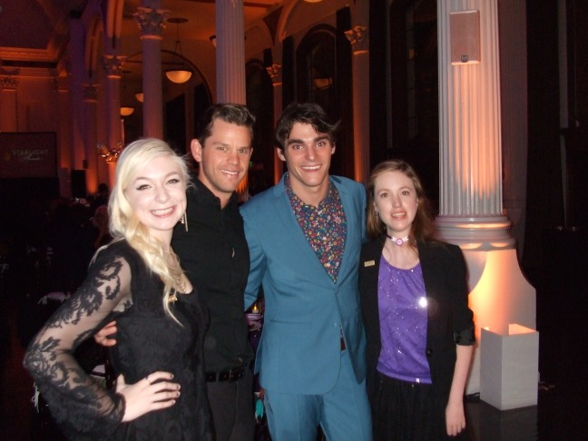 Starbright World Teen Kara (from left); Ryan Lane, Switched at Birth actor; RJ Mitte; and Starbright World Teen Brianna at the 2014 Starlight Awards at Vibiana on October 23, 2014 in Los Angeles,   Photo by Megan Clancy