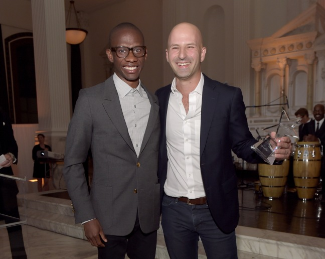 LOS ANGELES, CA - OCTOBER 23:  Presenter Troy Carter (L) and honoree and Yoobi Co-founder/CEO Ido Leffler, winner of the Innovator Award, pose backstage at the 2014 Starlight Awards at Vibiana on October 23, 2014 in Los Angeles, California.  (Photo by Jason Kempin/Getty Images for Starlight Children's Foundation) *** Local Caption *** Troy Carter;Ido Leffler