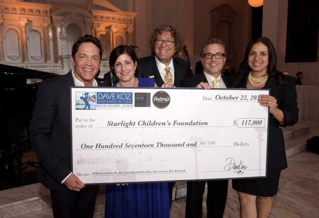 LOS ANGELES, CA - OCTOBER 23:  (L-R) Coalition Media Group CEO Dave Koz, Audrey's Cookies Founder & CEO Roberta Koz Wilson, Starlight Children's Foundation Global Board Chair Roger Shiffman, Music producer Jeff Koz, and Starlight CEO Jacquie Hart present the check to Starlight at the 2014 Starlight Awards at Vibiana on October 23, 2014 in Los Angeles, California.  (Photo by Jason Kempin/Getty Images for Starlight Children's Foundation)