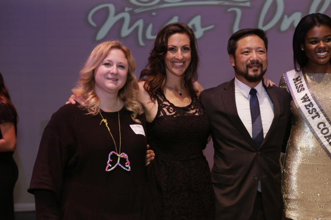 From left, SI chemistry teacher/Miss Unlimited Pageant Executive Director Michelle Wynn; Board of Directors members Brandi DeCarli and Scott P. Hu; and Miss West Coast Natalie Duvalsaint.  Photo credit: Paul Totah, spokesman of St. Ignatius College Preparatory.