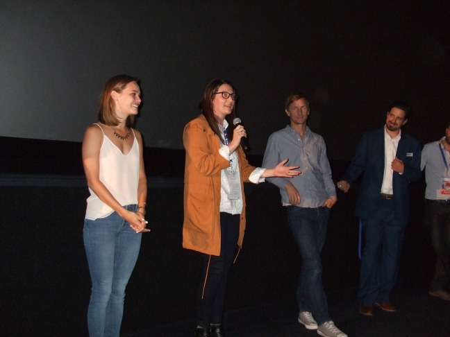 Second from left: Bailey Noble and Alexis O. Korycinski at Q and A session at one of the screenings at the 2015 Newport Beach Film Festival.  Photo by Megan Clancy