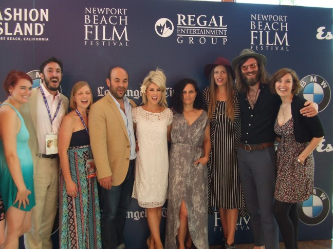 Second from left, Saralyn Armer poses with her cast/crew at the Newport Beach Film Festival.  Photo by Megan Clancy